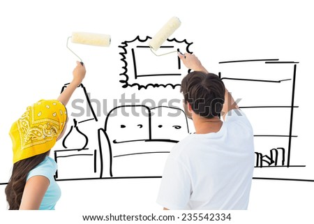 Happy young couple painting together against living room sketch - stock photo