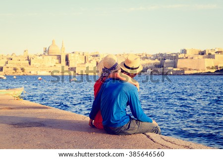 happy young couple travel in Malta, Europe - stock photo