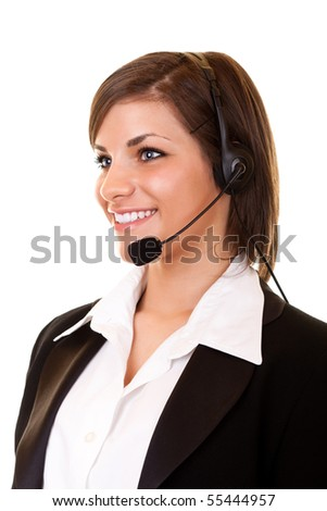 happy young customer service girl with headset