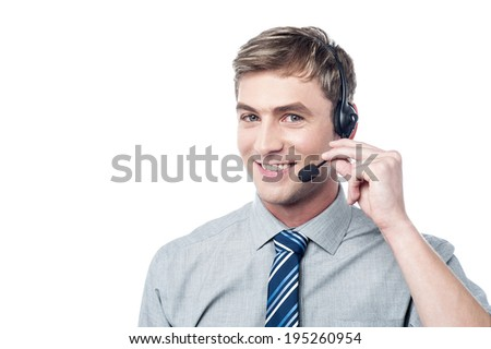 Happy young customer support executive - stock photo
