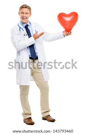 Happy young Doctor holding heart isolated on white background - stock photo