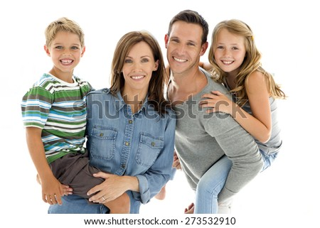 Happy young family having fun. Horizontal shot over white background. - stock photo