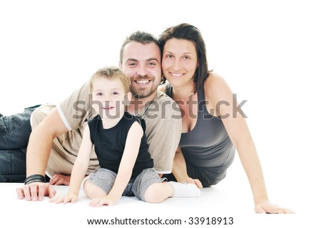 happy young family man and woman play with beautiful child son isolated on white - stock photo