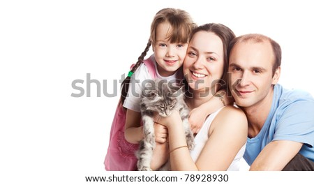 happy young family; mother, father, their daughter and a cat isolated against white background (focus on the woman), a lot of copy space for your text to the left
