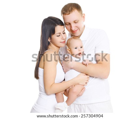 Happy young family, portrait of parents with cute baby - stock photo
