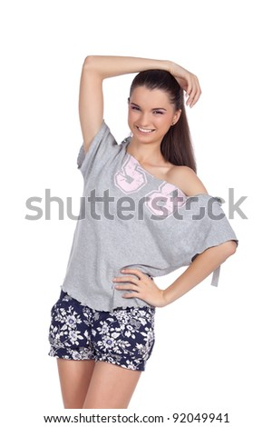 Happy young fashion model smiling and looking at the camera. High resolution image taken in studio. Isolated on pure white background with copy space for your ad.