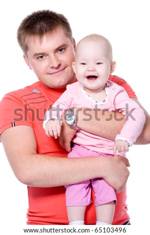Happy young father with attractive smile holding his baby on white background - stock photo