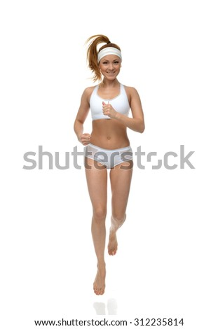 Happy young fitness beautiful slim sport woman jogging and running isolated on a white background - stock photo