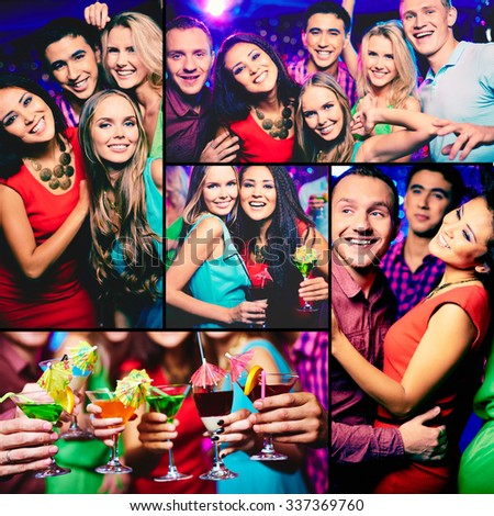 Happy young friends enjoying party - stock photo