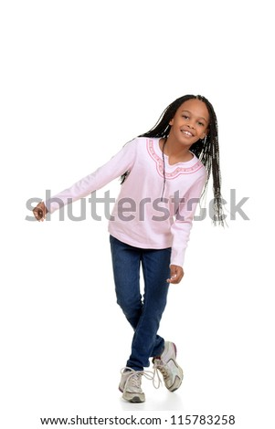 Happy young girl child dancing - stock photo