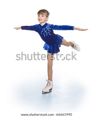 Happy young girl figure skating. Isolated. - stock photo