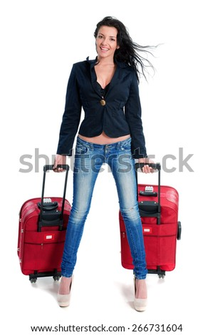 Happy young girl going on vacations with suitcase - stock photo