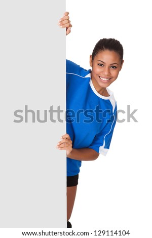 Happy Young Girl Holding Volleyball And Placard. Isolated On White - stock photo