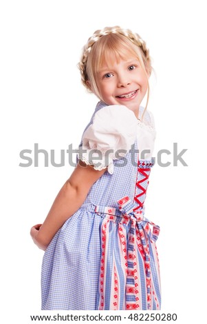 happy young girl in a dirndl