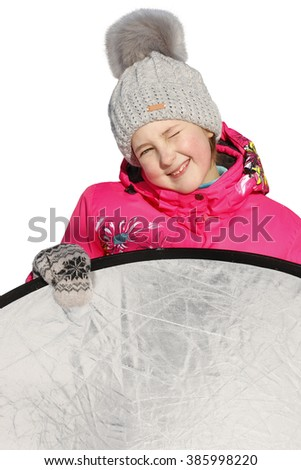 happy young girl in winter clothes. Closeup. Isolated on white background - stock photo