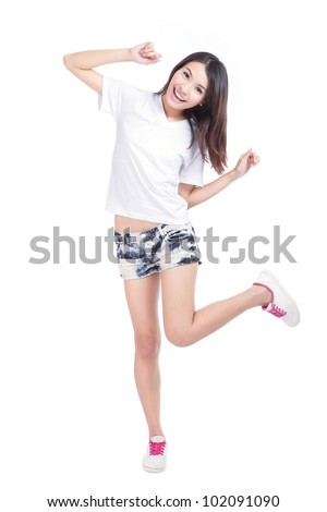 Happy young Girl smile in full length with white blank T-Shirt and blue jeans isolated on white background, model is a asian woman - stock photo