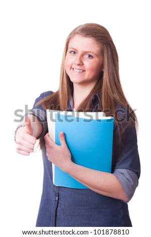 Happy Young Girl with Thumb Up