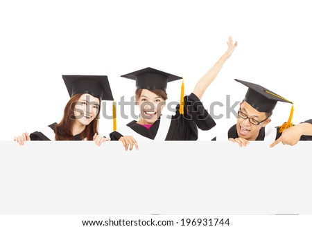 happy young graduate students with blank board