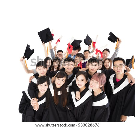 happy young group graduates holding diploma stock photo  happy young group graduates holding diploma