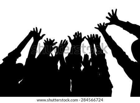 Happy young group hands up.  - stock photo
