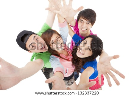 happy  young group having fun - stock photo