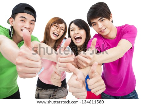 happy  young group with thumbs up - stock photo