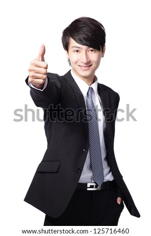 happy young handsome business man show thumb up isolated on white background, asian model - stock photo