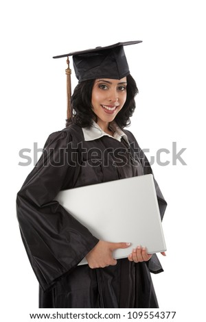Happy Young Hispanic Graduate Student Holding Laptop on White Background