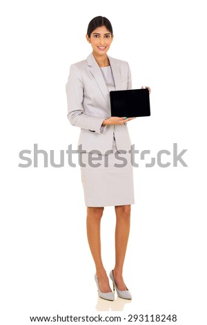 happy young indian corporate worker presenting tablet pc on white - stock photo