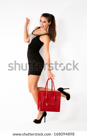 happy young lady coing shopping - stock photo