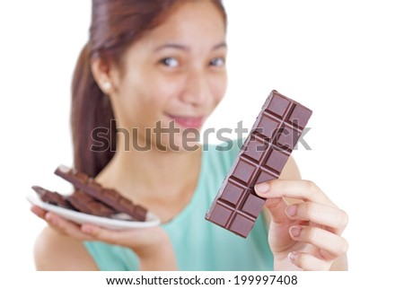 Happy young lady with chocolate, - stock photo
