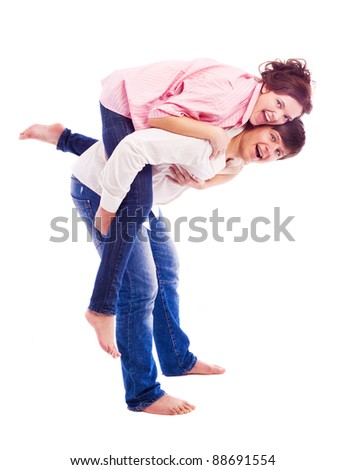 happy young loving couple, isolated against white background - stock photo