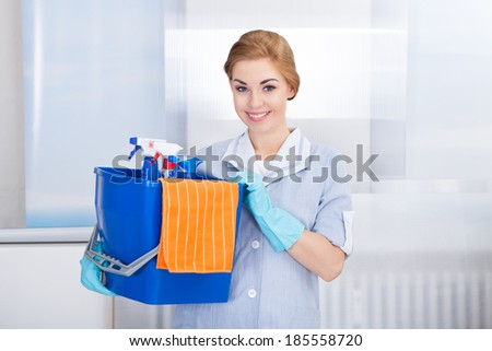 Happy Young Maid Holding Bucket With Cleaning Supplies - stock photo