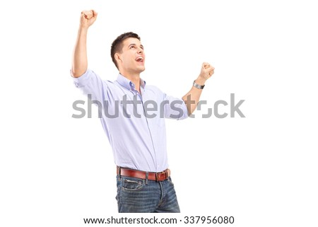 Happy young man gesturing joy isolated on white background - stock photo