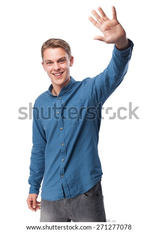 happy young-man greeting - stock photo