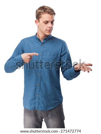 happy young-man holding sign - stock photo
