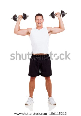 happy young man lifting dumbbells on white background
