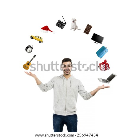 Happy young man making a scale with his own hands  - stock photo