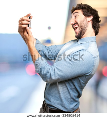 happy young man selfie pose