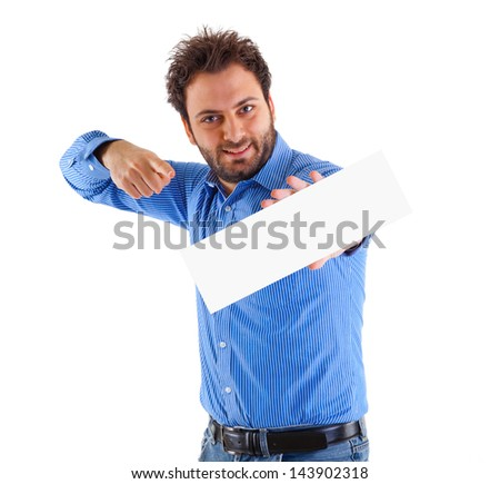 Happy young man showing and displaying placard - stock photo