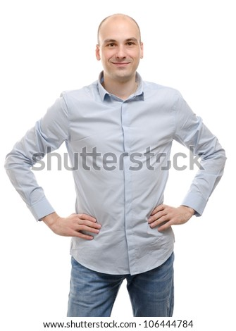 happy young man smiling on white background - stock photo