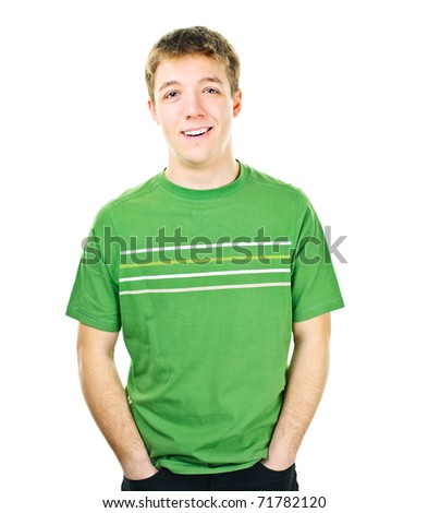 Happy young man standing isolated on white background - stock photo