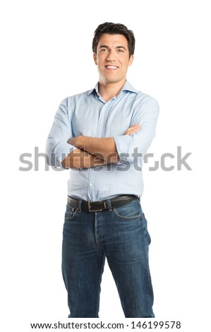 Happy Young Man With Arm Crossed Isolated On White Background  - stock photo