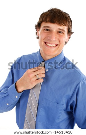 Happy Young Man with Blue Shirt and Tie on Isolated Background - stock photo