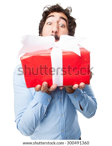 happy young man with gift - stock photo