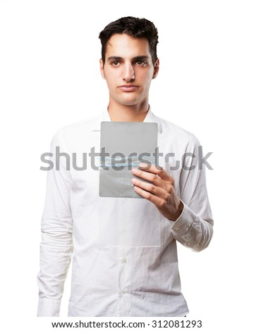 happy young man with grey card