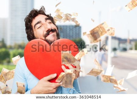 happy young man with heart shape - stock photo