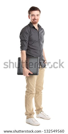 Happy young man with laptop - isolated on white - stock photo
