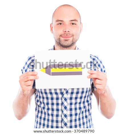 Happy young man with pencil sign against the white - stock photo