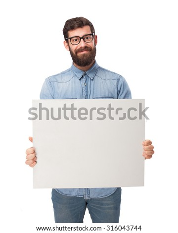 happy young man with placard